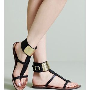 "Sam Edelman ""Genette"" Gladiator Black Gold Sandals"